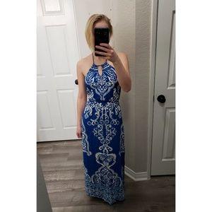 Forever 21 Blue And White Halter Maxi Dress
